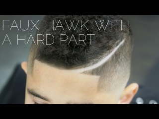 Curly Faux Hawk with a Hard Part Tutorial - Step by Step how to