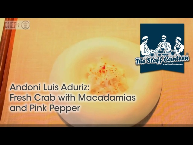 Two-Michelin star chef Andoni Luis Aduriz creates fresh crab with macadamias and pink pepper recipes