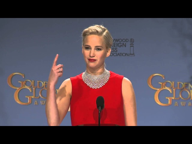 Jennifer Lawrence full Golden Globes backstage Speech