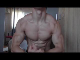 Lean Shredded Bodybuilder MfitBG Close Up Flexing Muscles