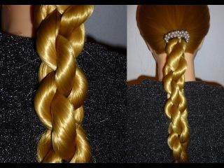 Быстрая причёска в школу самой себе на средние/длинные волосы.ЛЁГКАЯ коса.Плете ...