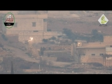 Сирия.21.12.2015.Алеппо.Выстрел в группу бойцов САА из ПТРК 9К115 Метис
