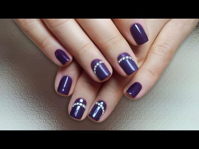 Дизайн ногтей гель-лак shellac - Дизайн стразами Swarovski (видео уроки дизайна ногтей)