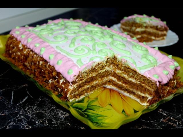 Простой медовик с пышными коржами простое украшение торта