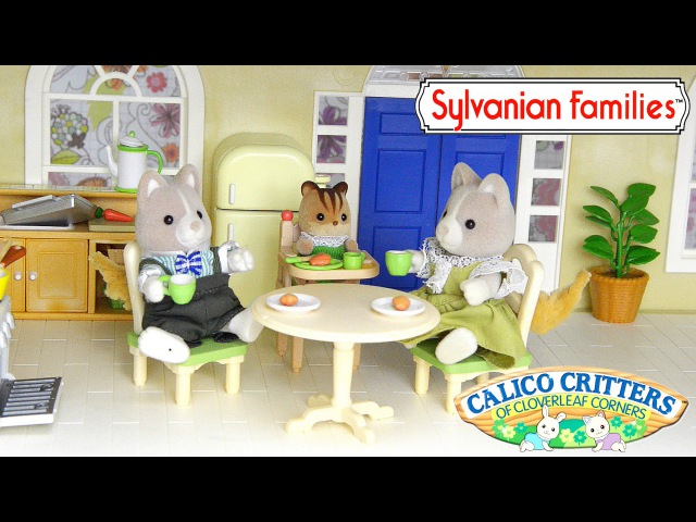 Sylvanian Families Calico Critters Kozy Kitchen add Couch Daddy Dog and Baby High Chair - Kids Toys