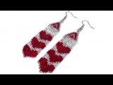 Tutorial How to make beaded long heart earrings  Серьги из бисера с сердечками мастер-класс