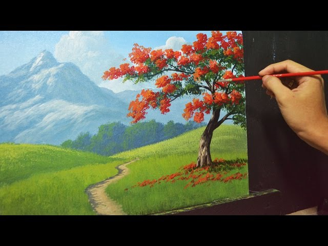 Acrylic Landscape Painting Lesson - The Fire Tree by JMLisondra