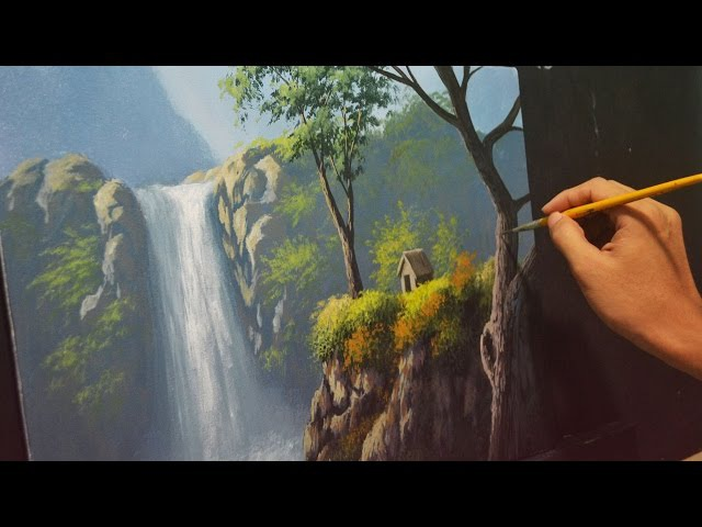 Acrylic Landscape Painting Lesson - House Beside the Waterfalls by JMLisondra