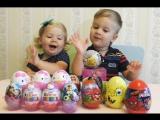 ✿ Маша и Медведь Открываем яйца с сюрпризами Киндер Сюрприз Хелоу Кити Спайдермен