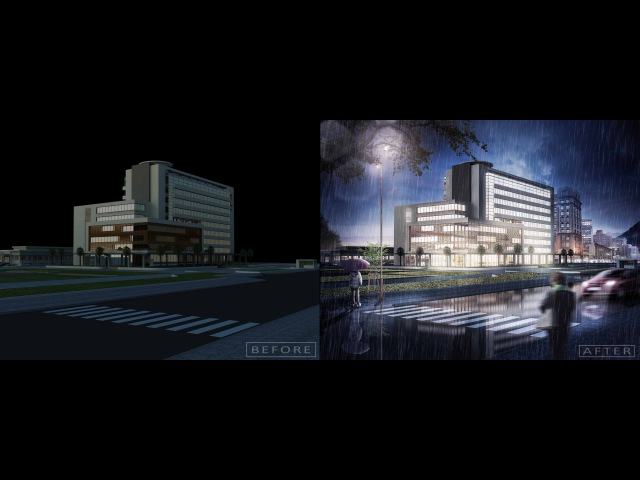 [Night Scene] Photoshop architecture rendering tutorial Day to night