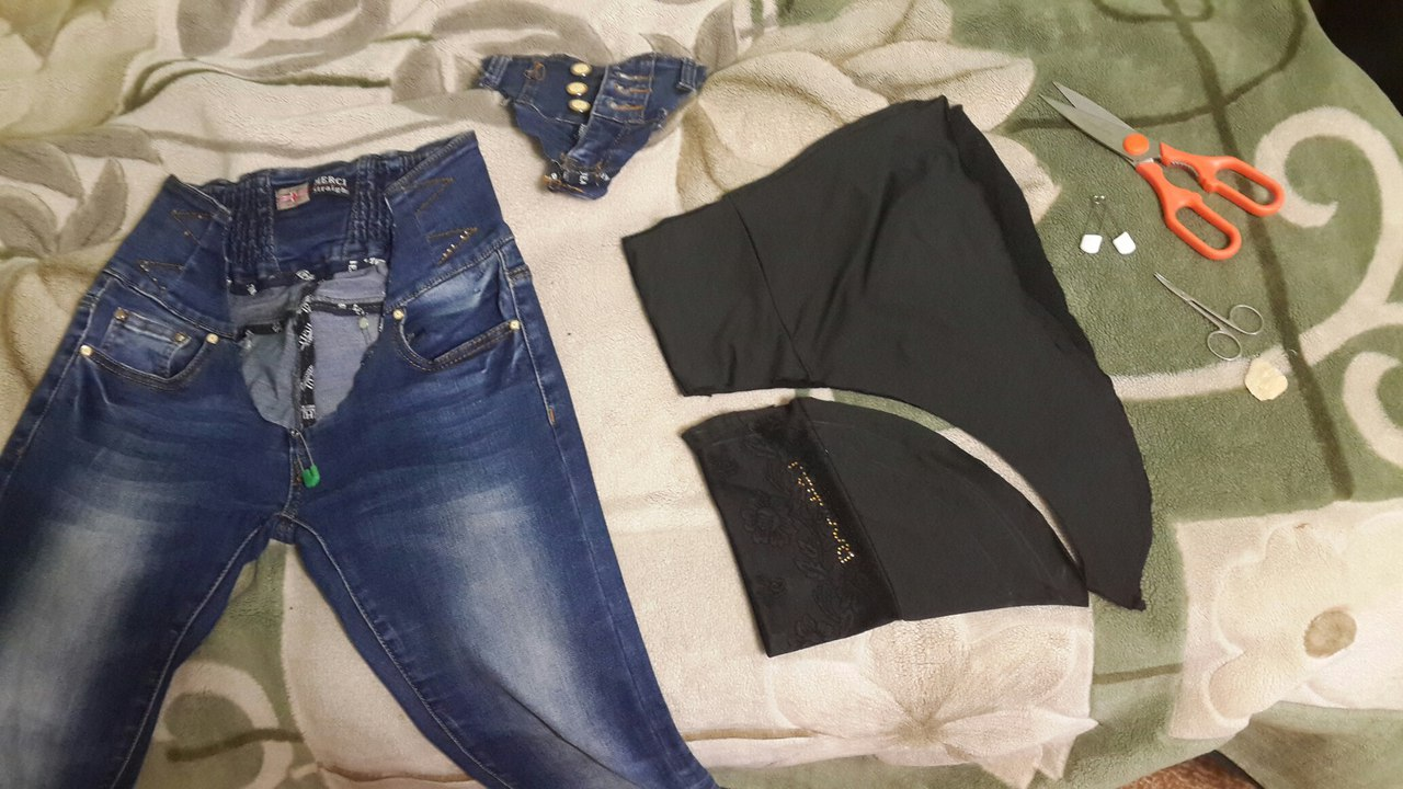 Переделать джинсы в беременные