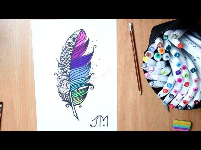 РИСУЮ ♥ Дудлинг перо ♥ Zentangle Feather