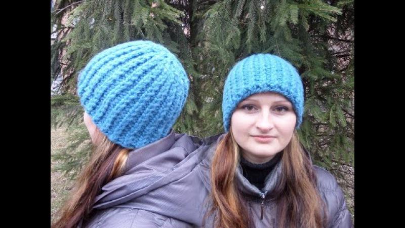 Шапка вязаная из толстых ниток. Женская шапка. Вязание спицами. Knitting(Hobby)