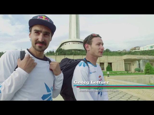 Red Bull Skydive komandası Bakı Televiziya qülləsindən paraşütla atlayış ediblər