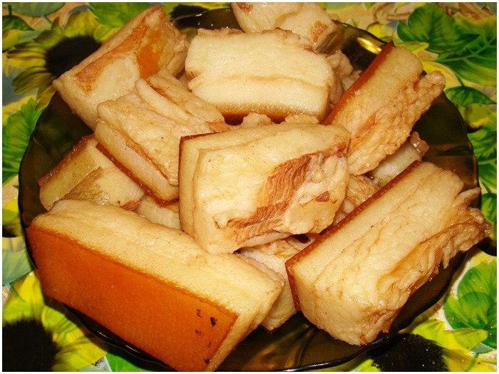 сало вареное с чесноком рецепт с фото