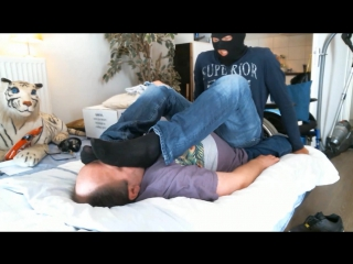 Foot on Face-Domination Size 10 usa in Smelly Sneakers,Blacks socks and Bare-Feet