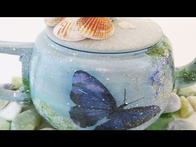 How to Decoupage a Tea Pot Beach themed butterfly