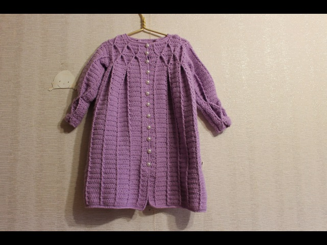Пальто с буфами крючком на девочку 3-4 года. (Часть 1/2. Спинка и полочки).