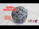 ESFERA DECORATIVA CON ROSAS DE PAPEL PERIODICO Decorative sphere with pink newsprint