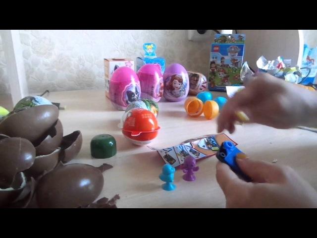 Распаковка 8 штук Kinder Surprise (Кунфу-панда 3, Маша и медведь, Disney princesses)