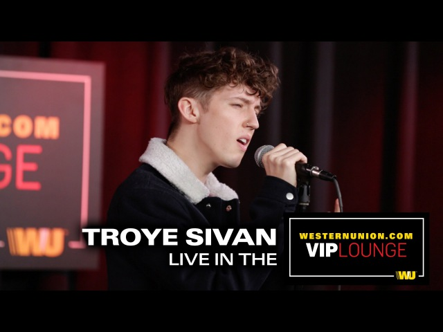 Troye Sivan performs Youth and Happy Little Pil inside the WesternUnion.com VIP Lounge