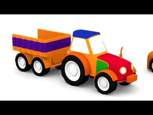 Dessin animé en français de 4 voitures construction du tracteur