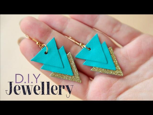 D.I.Y jewellery Яркие сережки из кожи. Cool diy earrings