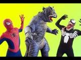 Spiderman &amp Venom vs T-Rex  Godzilla In Real Life  SuperHero Fun!