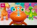Поезд Динозавров. Игрушки из мультфильмов. Динозавры Бадди Тайни Нэд распаковка