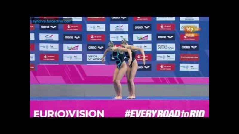 Lara Mechnig/Marluce Schierscher (LIE) Duet Technical Final European Aquatics Championships 2016
