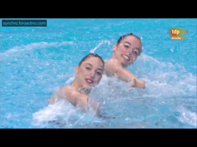 Rebecca DomikaMia Sestan (CRO) Duet Technical Final London European Aquatics Championships 2016
