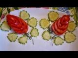 Карвинг из огурца и помидора. Цветы и лепестки. Как красиво оформить закуску - 720x540