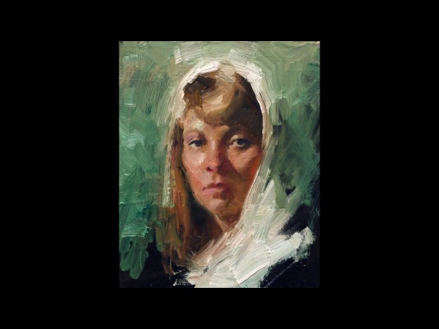 White scarf, small portrait oil painting demo by Zimou Tan