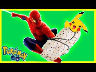 Человек Паук и Ребенок Пикачу в Реале Покемон Гоу