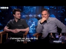 Enzo Weyne performs a magic trick at the Now You See Me 2 press junket with Mark Ruffalo and Daniel Radcliffe