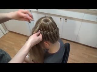 Плетение косичек.Причёска Корзинка (с губкой).Hairstyle.Basket.Braids.Tutorial. ( 480p )