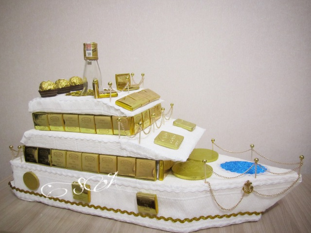 Яхта из конфет. Подробный мастер-класс. Шикарный подарок на 23 февраля, день рождения.