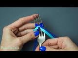 Маленький бантик на вилке - как сделать #ручнаяработа #handmade #DIY #бант #лента #bow #ribbon