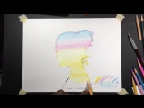 Double Exposure drawing with colored pencils