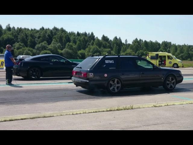 Nissan GT-R R35 vs Audi S4 C4 2.2TQ 1/4mile drag race