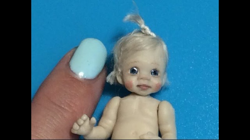 MINIATURE DOLLHOUSE How To Sculpt Polymer Clay Baby Face Head Body Tutorial Video OOAK DOLLS HOUSE