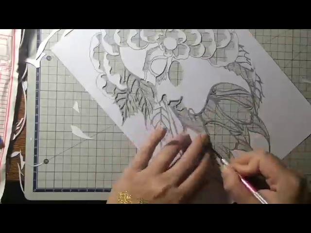 Процесс ручной вырезки картины из бумаги Художник Аля Сланова