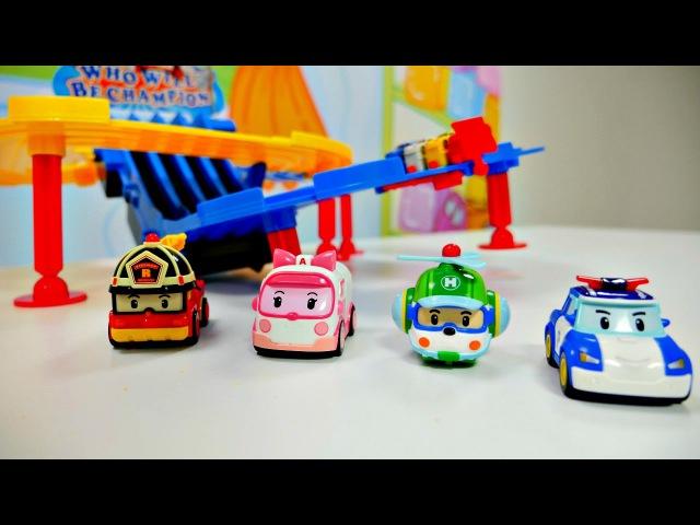 Oyuncak arabayarışı - RobocarPoli ve kurtarma ekibi. Oyuncakaraba pisti.