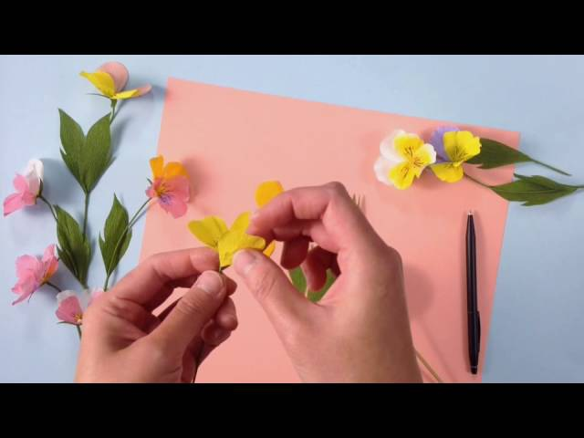 Papetal - How to make a crepe paper Pansy