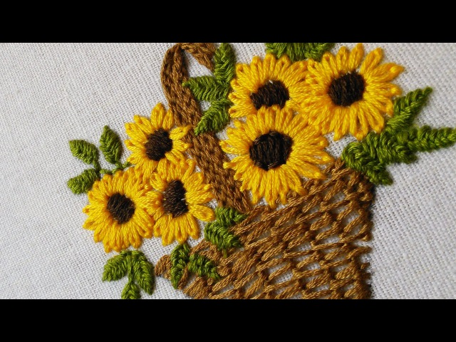 Embroidery Flower Basket | Stitch design for baby cloths | HandiWorks 47