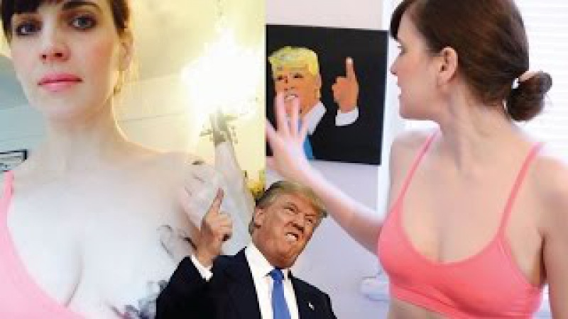 Youtuber usa os peitinhos para pintar Donald Trump, pintando com os seios, boobs paintig. PG 18