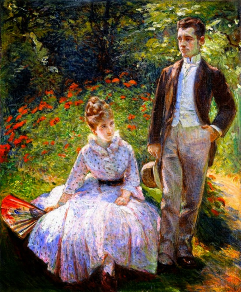 Мари Бракемон Marie Bracquemond 1840 — 1916 The Artist's Son and Sister in the Garden at Sevres «Сын художницы и сестра в саду в Севре» 1890