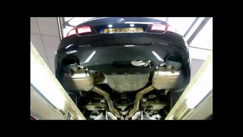 BMW F10 550i xDrive met maatwerk RVS X-Pipe Dual exhaust Cutout / Kleppen -www.uitlaten.com-