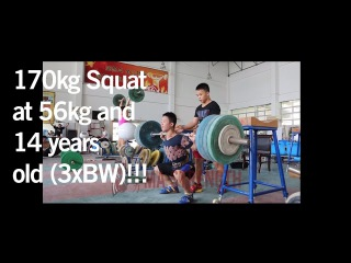 (14yo 56kg) 170kg Back Squat (3xBW!!!)