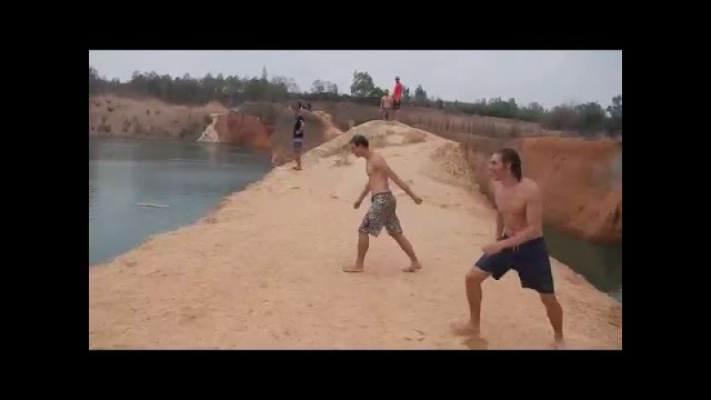 Kyrill and Thijs cliff jump